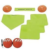Rukket 儿童足球套装带底座 | 橡胶抛掷盘和踢球 | 适合儿童和成人 | 操场和后院游戏 | 空气泵和反弹锥体
