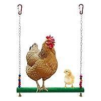 鸡梯秋千猪栖木,天然木质多彩鸡玩具带铃铛适合母鸡,*夹子鸡木架秋千玩具适合母鸟鹦鹉训练* Chicken swing green