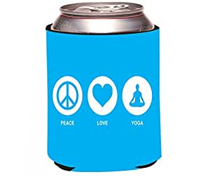 "Rikki Knight RKws-KOOZIE-43013 ""Peace Love Yoga Sky Blue Design"" Beer Can/Soda Drink Cooler Koozie"