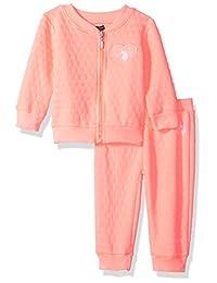 U.S. Polo Assn. 女婴 2 件套抓绒运动套装 霓虹橙色 12 Months