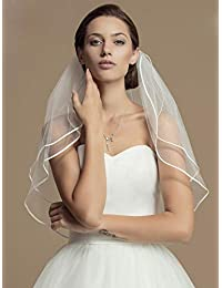 Unsutuo 婚礼头纱短裤 带梳子 肘长 新娘头纱 2 层 带边 新娘头纱