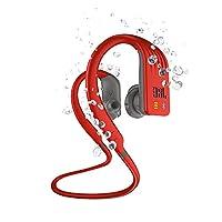 JBL 耐用潜水,无线 MP3 入耳式运动耳机,单按钮麦克风/遥控 - 红色