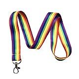 彩虹条纹挂绳钥匙链 ID 徽章夹