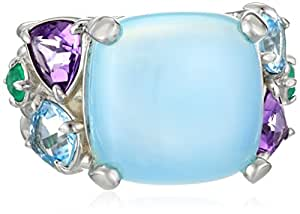Kenneth Jay Lane Fine Jewelry Sterling Silver, Chalcedony, Blue Topaz, and Amethyst Ring, Size 7