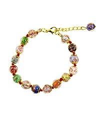 Just Give Me Jewels Venice Murano Sommerso Aventurina 玻璃珠链手链多色,20.32 + 2.54 厘米延长链