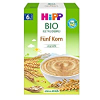 Hipp 喜寶 Bio 嬰兒谷物粥 5種谷物/不含添加糖 適用于6月以上嬰兒,6盒裝(6 x 200g)