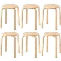 アイリスプラザ 椅子 木製 スツール 6個セット オレンジ ファブリック 座面直径約32×高さ約45cm SL-02F
