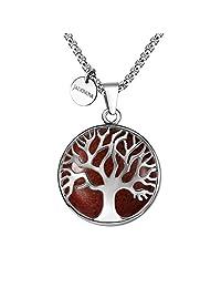 JADENOVA 家族树项链 生命之树宝石吊坠项链 60.96cm 不锈钢链 天然红宝石 中