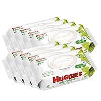 HUGGIES 天然呵護嬰兒濕巾 無香型 8 盒, 每盒64 Count 共512 濕巾(19.5X16.8厘米) 美國直郵