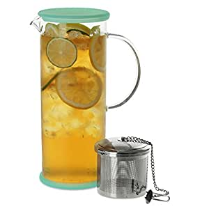 FORLIFE LUCENT Glass Iced Tea Jug with Capsule Infuser, 48-Ounce, Mint