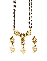 Bindhani 印度宝莱坞新娘婚礼镀金锰结链吊坠项链珠宝套装
