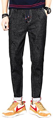 アバクロ春夏メンズジーンズのズボン日本語弾性ウエストネクタイハーランパンツスリム黒のカジュアルな若者の韓国語バージョンJ687は
