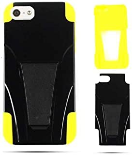 Cell Armor IPhone5-PC-JELLY-03-YEG Hybrid Fit-On Jelly Case for iPhone 5 - Retail Packaging - Yellow Skin and Black Snap with Stand