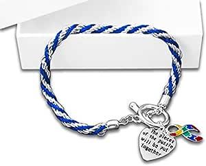 Autism Awareness 拼图手链 Rope Heart Charm Bracelet Retail Bracelets RE-B-02-2