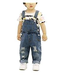 Sitmptol 小女孩男孩幼儿做旧连体衣孔牛仔裤围兜长款牛仔裤连体裤