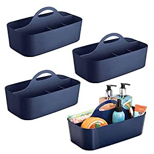 mDesign Bathroom Essentials Carrying Caddy for Cosmetics, Lotions or Shampoos - Pack of 4, Navy