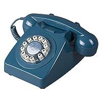 Wild Wood 746 旋轉設計復古地線電話 海藍色