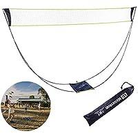 YUEVAN 便携式羽毛球网适合后院带支架手提袋,折叠排球网球羽毛球网 - 轻松设置户外/室内网球场,无需工具或桩子