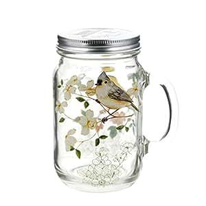 A TING 梅森玻璃罐带提手盖子24盎司。 Yellow Bird