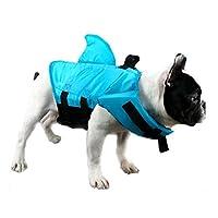 GabeFish 鲨鱼狗救生衣,蓝色,橙色,猫咪泳装 蓝色 XS (Weight: 2-13lb/1-6kg)