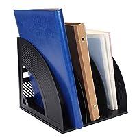 桌面文件收納籃,辦公室/家庭便攜式垂直直立4隔層儲物箱 箱子 文件夾架架 適用于辦公用品 均碼 Black-3 Compartment