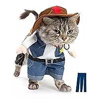 宠物狗猫万圣节服装 THE 牛仔适用于参加派对圣诞活动服装制服带帽子有趣宠物服装猫和狗狗服装 多色 M