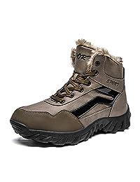 FeO DvKe铁公爵 登山鞋大码棉鞋 冬季保暖靴男士加绒雪地靴子 真皮高帮短靴 CL85-9009V