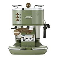 De'Longhi 德龙 Icona Vintage 复古系列 ECO310.VGR 泵压式半自动咖啡机 橄榄绿色 1100W (意大利品牌 海外自营 国内官方联保两年)(包邮包税)