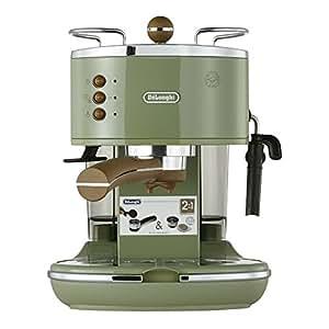 De'Longhi 德龙 Icona Vintage 复古早餐系列 ECO310.VGR 泵压式半自动咖啡机(水箱容量 1.4L) 橄榄绿色 1100W (海外自营)(国内官方联保两年)(包邮包税)