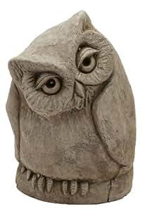 The Stone Bunny STA-5046-0404 6.5 英寸苔藓混凝土扭转猫头鹰雕像,中号