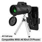 LinkStyle 40X60 HD 单筒望远镜带电话夹和三脚架,高功率夜视变焦单目望远镜防水 BAK4 棱镜镜头适合成人观鸟音乐会钓鱼狩猎 C1 黑色