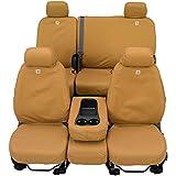 Covercraft Carhartt SeatSaver 前排定制座套,适用于特定公羊车型 - 鸭子编织(棕色)