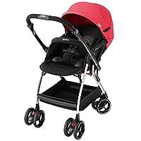 日本 Aprica 阿普丽佳 Optia新视野新生儿车可坐可躺 婴儿推车轻便 热力红(车重6.8kg、双重避震、自动万向轮、双向可视遮阳蓬)