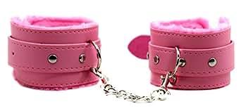 HLLMART 可调节袖口毛皮手铐适合性玩耍 粉红色 One Size