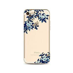 iPhone 8 Plus/iPhone 7 Plus 手机壳(5.5 英寸),金银花图案系列软橡胶 TPU 手机壳适用于 iPhone 8 Plus/iPhone 7 Pluszhecheng152a10418 蓝色花瓣树
