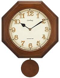 さんてる レトロ 八角 電波 振り子 柱時計 (木文字) 日本製掛時計 DQL635