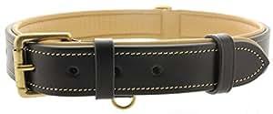 皮革衬垫狗项圈 - 由金斯顿真皮制成 黑色 X大码