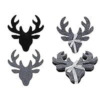 圣诞工作室驯鹿灰色和黑色动物形状毛毡工艺套装,派对装饰品 - 12 件套