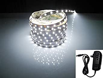 LED2020 LD-SP-W-WR-SET Plug-N-Play Waterproof White 6500K LED Flexible Light Strip with Wire Jumper and Power Supply Included, 16.4-Feet