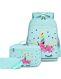 CAMTOP 女孩背包 学校用女孩背包 带午餐盒 儿童书包套装 小学生用(独角兽)