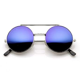 限量版彩色镜面翻盖镜圆形凸缘太阳镜(银色蓝镜)