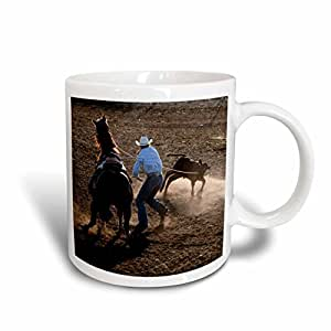 VWPics Horses - Cowboy competes at rodeo calf roping event - 11oz Mug (mug_11358_1)