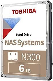 TOSHIBA 东芝 N300 6TB NAS 3.5英寸内部硬盘驱动器 CMR SATA 6 GB/s 7200 RPM 128 MB缓存 HDWN160XZSTA