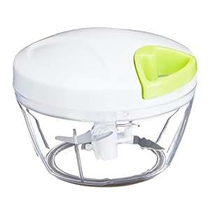 Relaxdays 手动切碎机 蔬菜切碎机 水果切碎机 通用钩 3个不锈钢刀片 白色-*