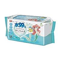 迪士尼 纯水99% 湿巾 柔软型 80片×3包 (迪士尼公主 爱丽儿) 日本制造