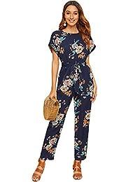 WDIRARA 女式花卉印花短袖自带腰带连身衣高腰长款连衫裤
