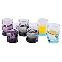Bormiolirocco 波米欧利.罗克 意大利进口 索珍特炫彩 六只装玻璃杯300ml 3.404234S6(2紫+2蓝+2黑)