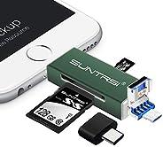 suntrsi TF/SD 读卡器兼容 iPhone/OTG 安卓/电脑,Micro SD 读卡器兼容 iPhone/iPad 充电,兼容 SD 卡相机适配器 x 磁盘i-M01