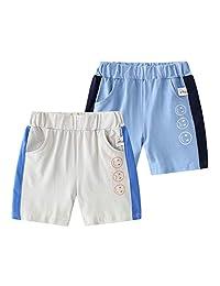 WINZIK 男童夏季裤子棉短裤婴儿儿童松紧腰休闲运动短裤带口袋适合 18M-7Y