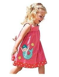HILEELANG 小女孩棉质连衣裙休闲夏季背心裙花朵印花套头裙